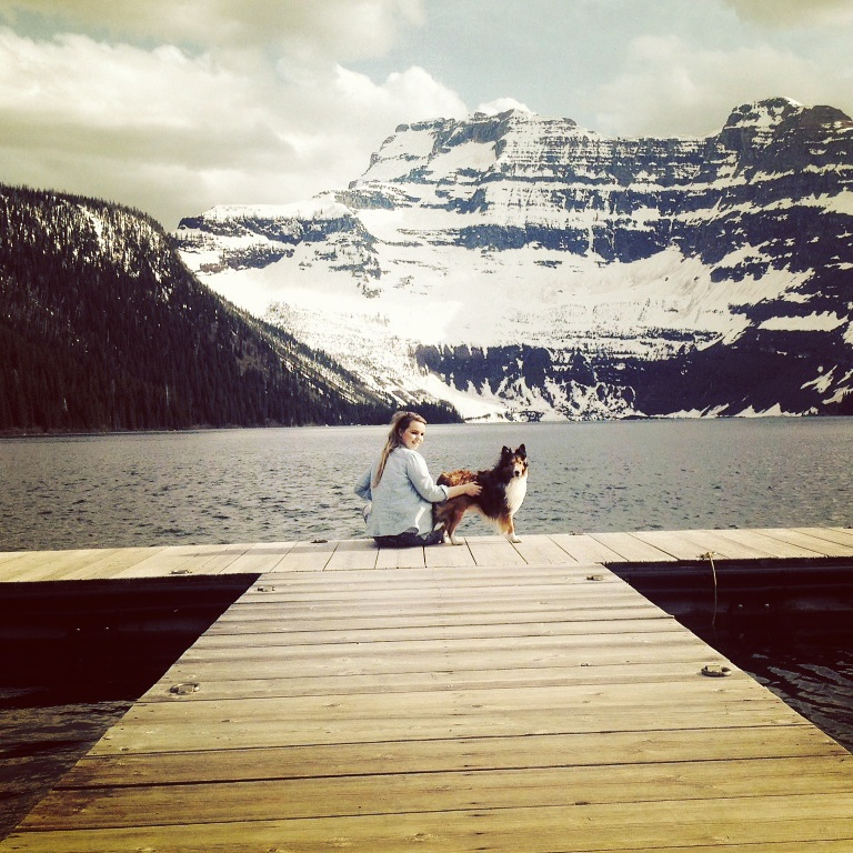 Image of Martha Loughlin with a dog at Waterton Lakes National Park in Alberta Canada