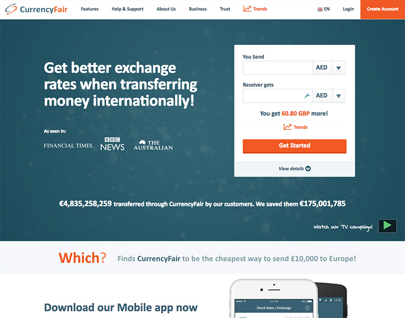 2015 CurrencyFair Website