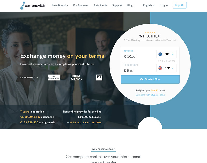 2017 CurrencyFair Website