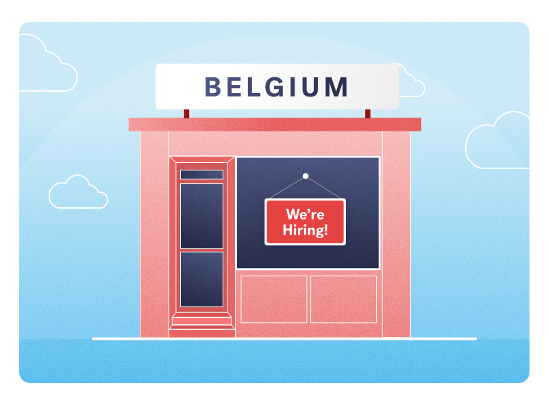 store front named belgium with hiring sign in window