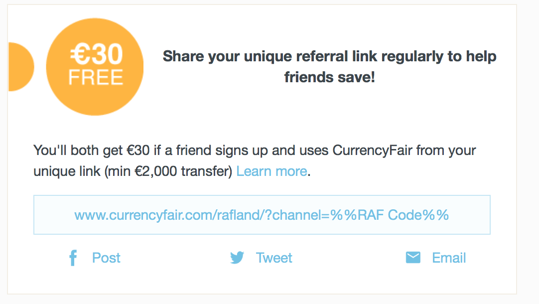 link in email footer to refer a friend