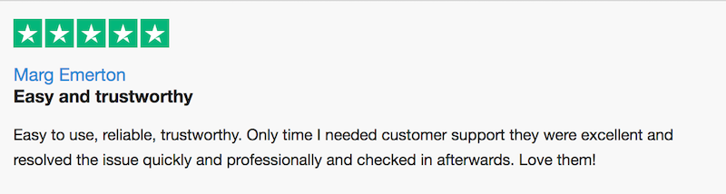 trustpilot review of currencyfair by marg e