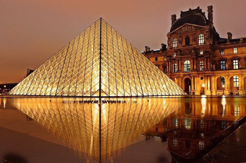 night time photo of the louvre