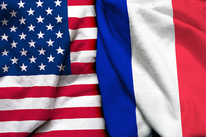 french america flags together