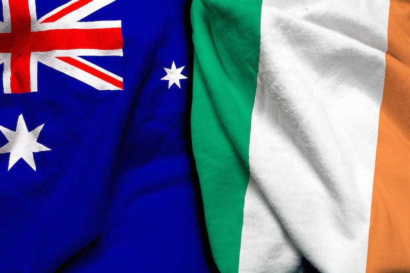ireland australia flags together