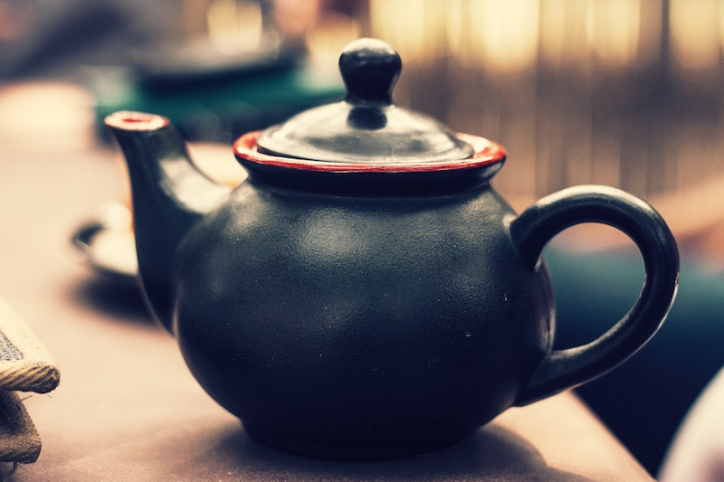 image of black teapot