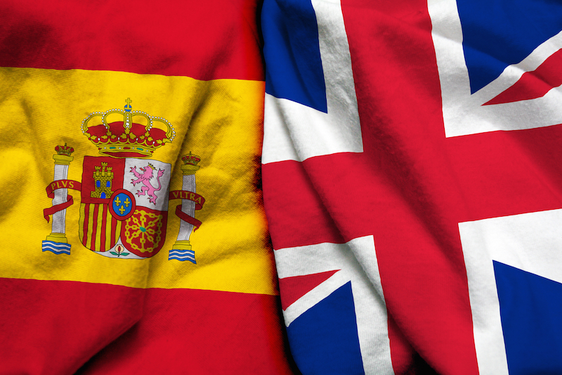 spain uk flags together