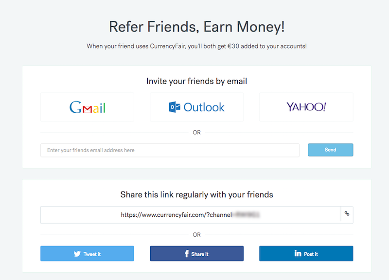screenshot of invite a friend page with links to share RAF