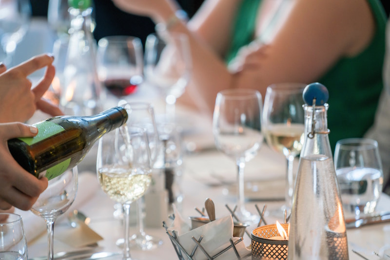 table filled with wineglasses