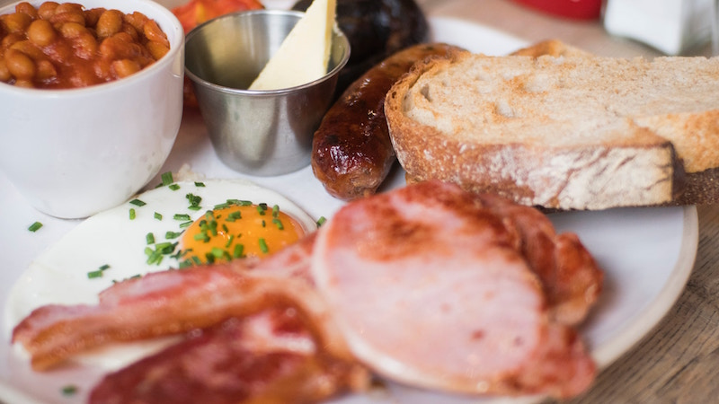 english breakfast fry on white plate