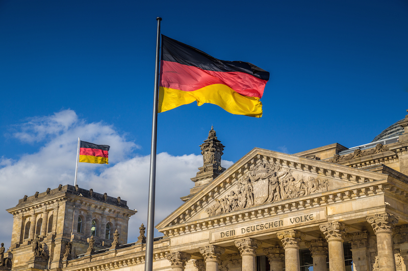 german reichstag with flag in front