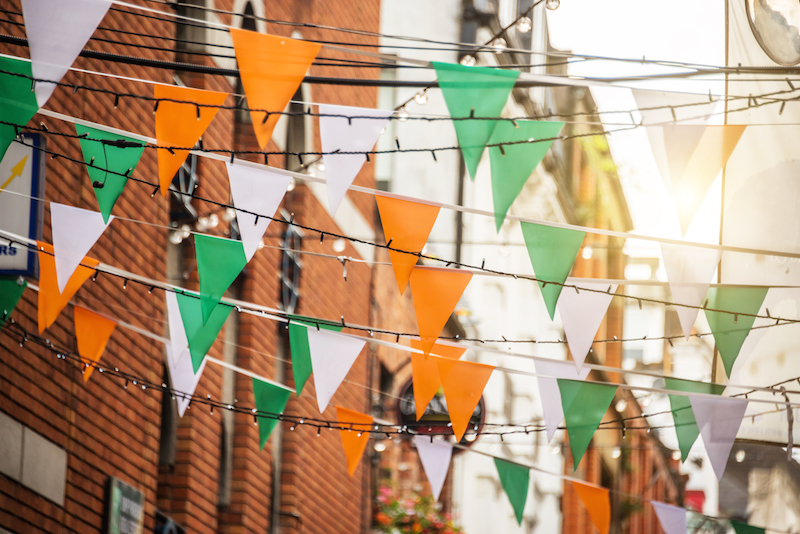 bunting in street with irish flag colours