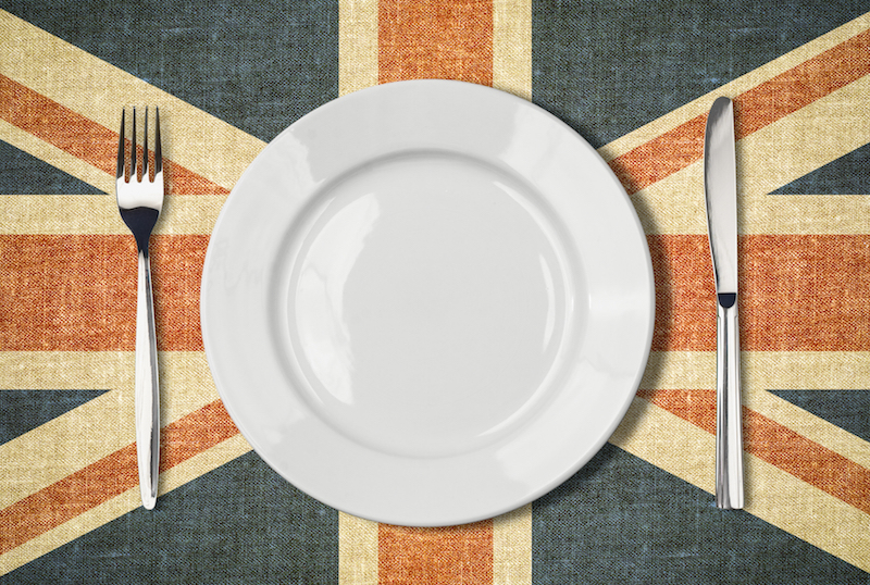 plate cutlery over british flag