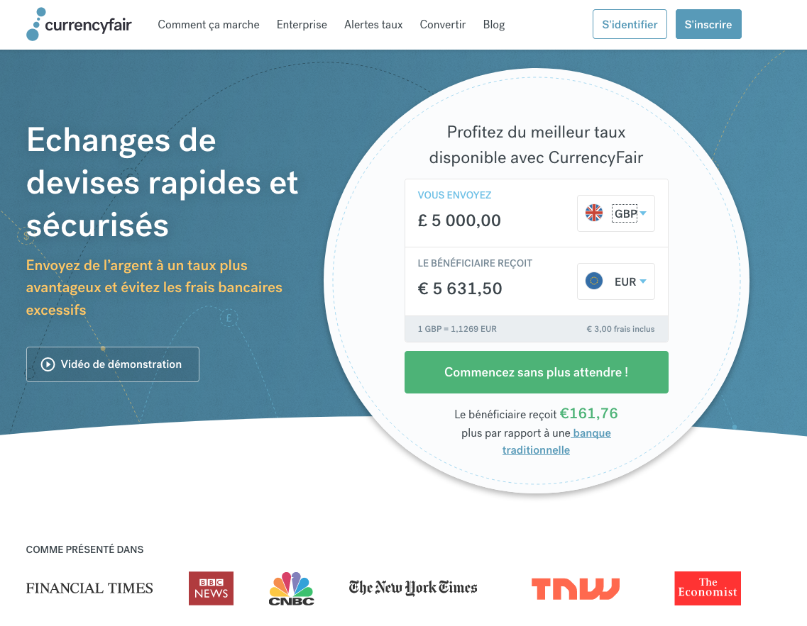 CurrencyFair Dashboard in French