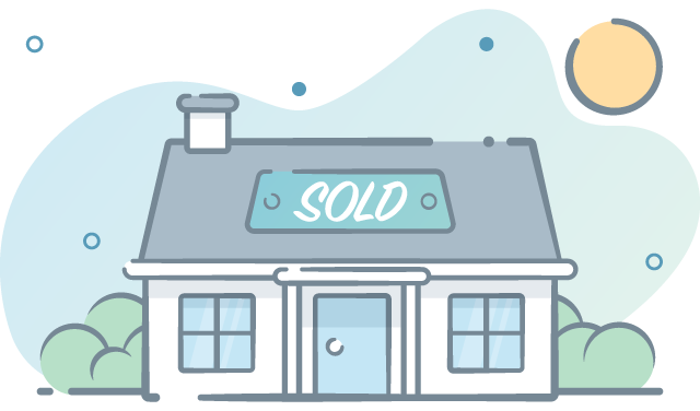 House with sold sign