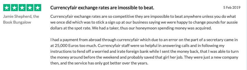 screenshot of customer review titled currencyfair exchange rates are imossible to beat