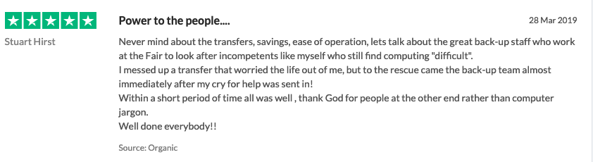 screenshot of customer review titled power to the people
