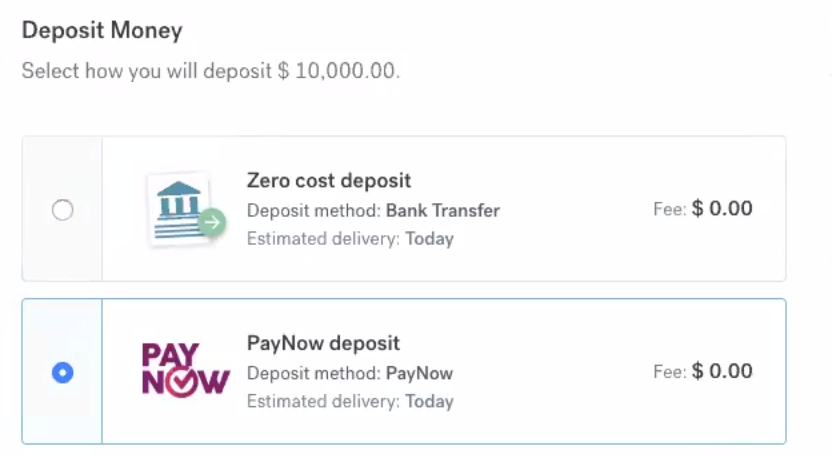 selecting PayNow with CurrencyFair