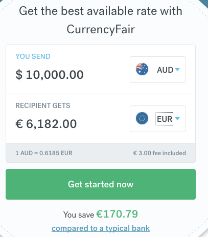 calculator showing the exchange of AUD to EUR with CurrencyFair