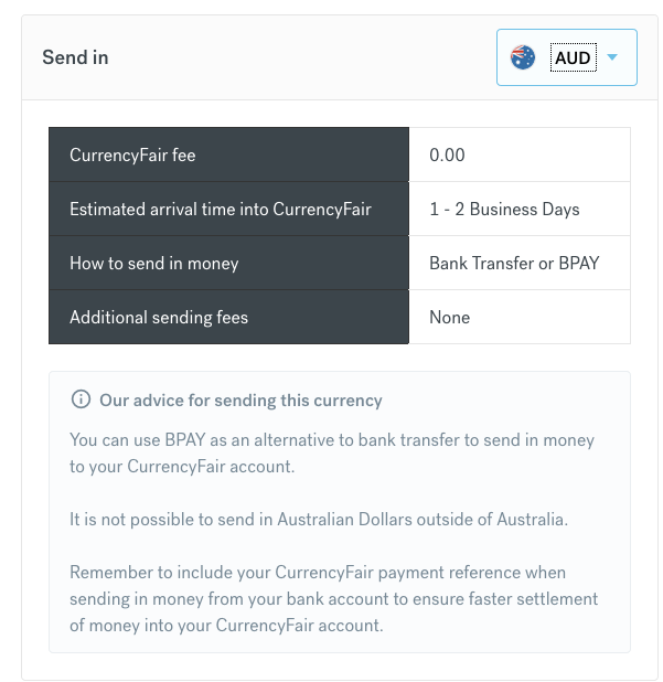 send in AUD to CurrencyFair details