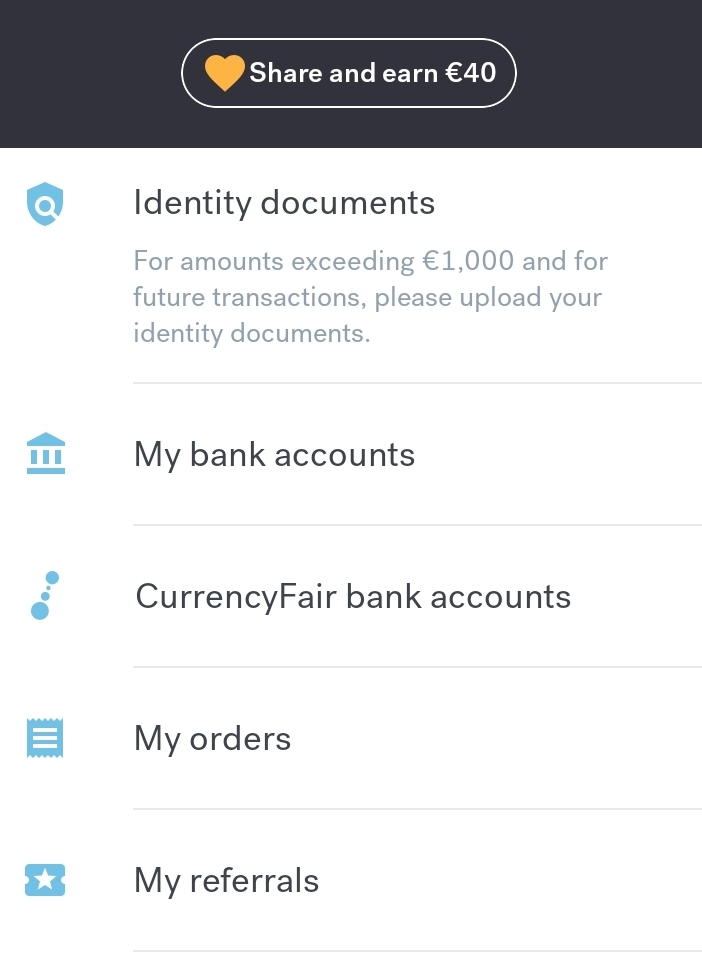 currencyfair referral button on mobile