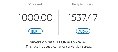 PayPal EUR to AUD