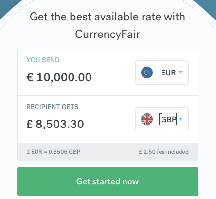 CurrencyFair EUR-GBP rate 18 Nov 2019