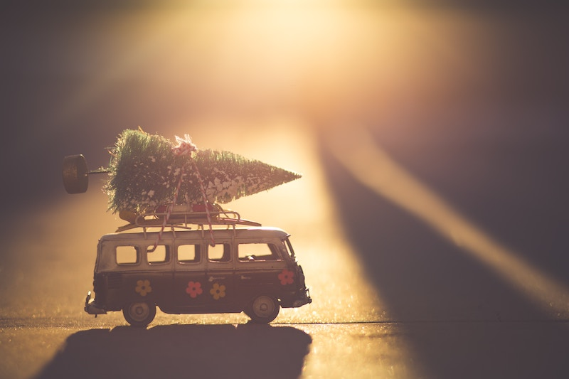 toy van with christmas tree on roof