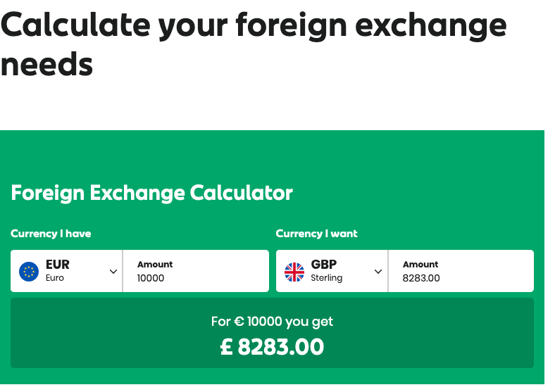 An Post exchange of euros to sterling