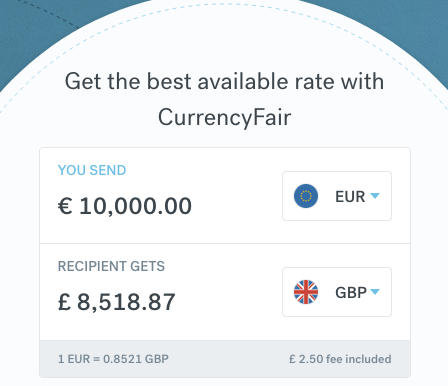 CurrencyFair 10000 Euro to Sterling