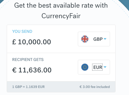 CurrencyFair 10000GBP exchange to EUR