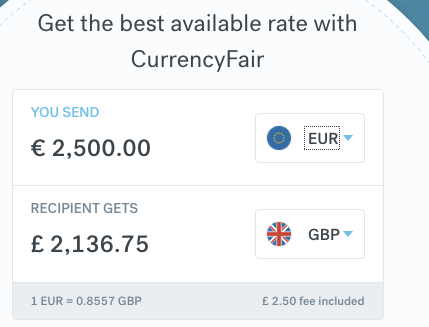 CurrencyFair 2500 euro to gbp comparison