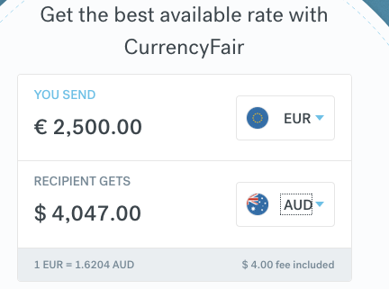 CurrencyFair 2500 EUR to AUD 13:30 22 November 2019