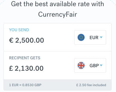 CurrencyFair 2500 EUR to GBP 16:43 19 November 2019