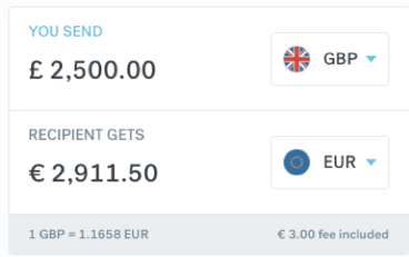CurrencyFair exchange 2500GBP to EUR 18 Nov