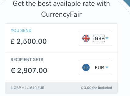 CurrencyFair 2500 Sterling to Euro