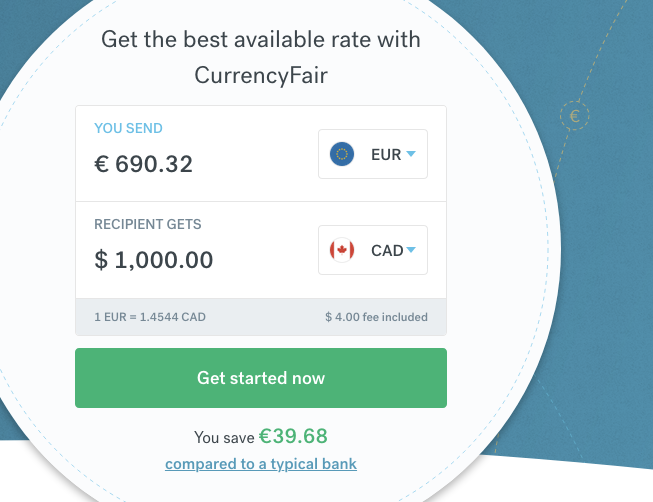 Screenshot of EUR to 1000 CAD exchange with CurrencyFair