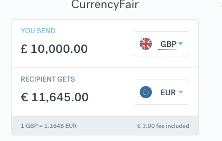 CurrencyFair 10000 GBP to EUR
