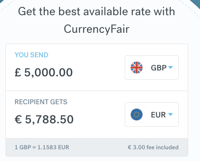 CurrencyFair 5000 GBP to EUR 22 November 2019