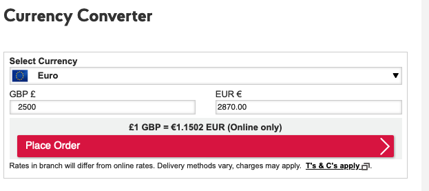 Post Office 2500 Sterling to Euro