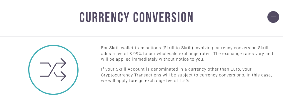 Skrill currency conversion fees explained