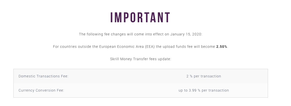 Fee changes with Skrill January 2020