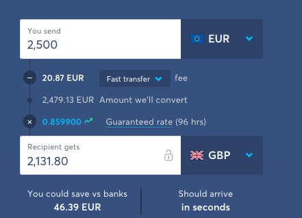 TransferWise 2500 euro to gbp comparison