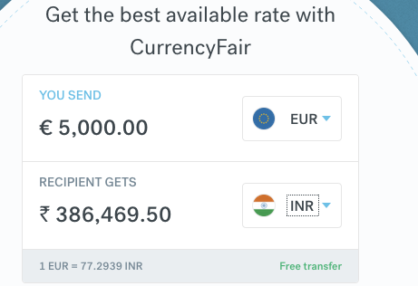 5000 euro to inr transfer CurrencyFair