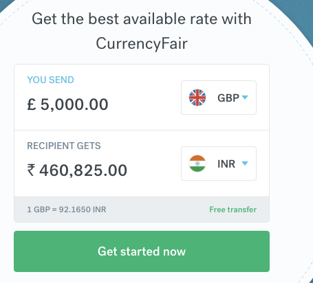 5000 pound sterling to indian rupee transfer CurrencyFair