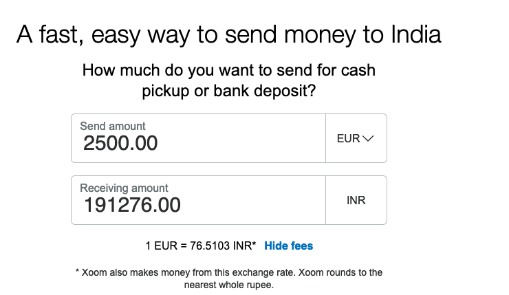 2500 euro to indian rupee transfer Xoom