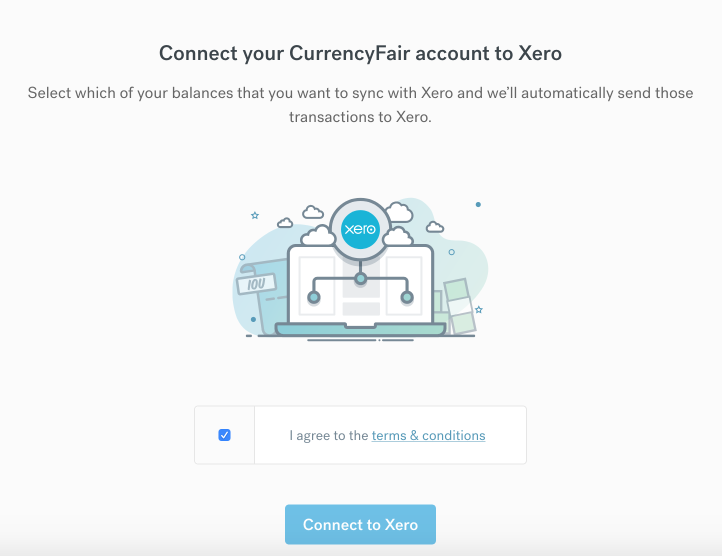 connect CurrencyFair to Xero